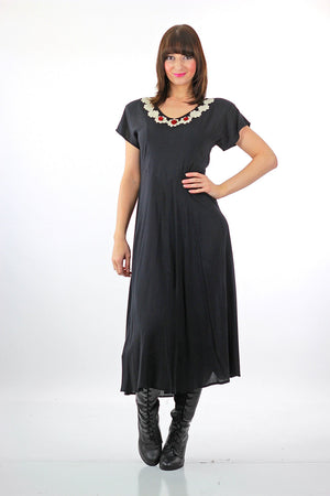 90s goth grunge Black midi crochet lace dress - shabbybabe  - 3
