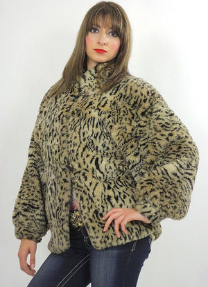 Faux fur jacket Boho spotted faux fur jacket Hippie faux fur coat Cozy faux fur chub coat Animal print faux coat Oversized faux fur jacket - shabbybabe  - 1