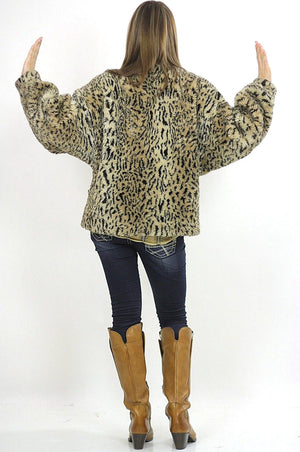 Faux fur jacket Boho spotted faux fur jacket Hippie faux fur coat Cozy faux fur chub coat Animal print faux coat Oversized faux fur jacket - shabbybabe  - 4