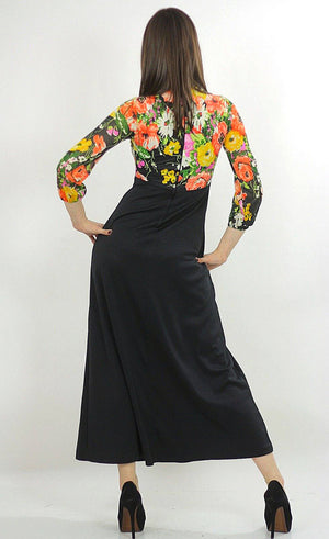Floral Dress high waisted maxi color block Empire waist Hippie Boho Orange Yellow Black Graphic Bohemian Medium 1358 - shabbybabe  - 4