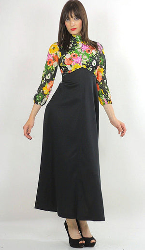Floral Dress high waisted maxi color block Empire waist Hippie Boho Orange Yellow Black Graphic Bohemian Medium 1358 - shabbybabe  - 1