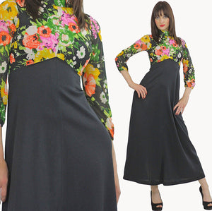 Floral Dress high waisted maxi color block Empire waist Hippie Boho Orange Yellow Black Graphic Bohemian Medium 1358 - shabbybabe  - 2