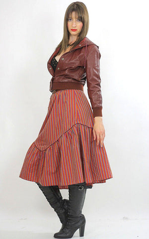 Stripe skirt Tiered ruffle Boho Red striped Vintage 1970s Festival Cotton Bohemian Hippie Prairie Medium - shabbybabe  - 5