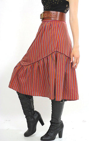 Stripe skirt Tiered ruffle Boho Red striped Vintage 1970s Festival Cotton Bohemian Hippie Prairie Medium - shabbybabe  - 1