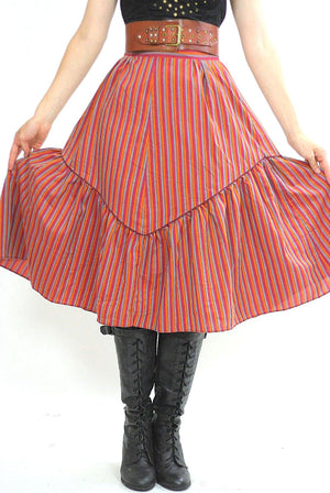 Stripe skirt Tiered ruffle Boho Red striped Vintage 1970s Festival Cotton Bohemian Hippie Prairie Medium - shabbybabe  - 4