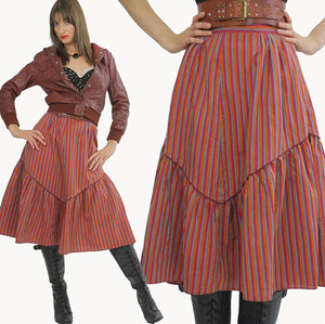 Stripe skirt Tiered ruffle Boho Red striped Vintage 1970s Festival Cotton Bohemian Hippie Prairie Medium - shabbybabe  - 2