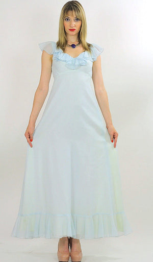 Pastel blue boho maxi dress ruffle collar sheer empire waist S - shabbybabe  - 1
