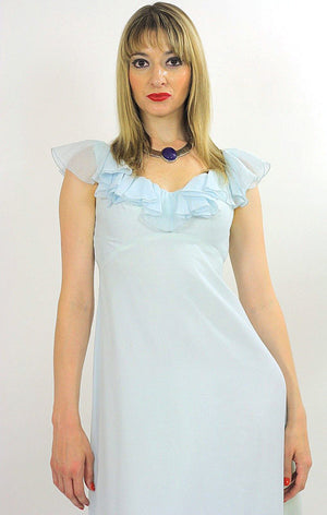 Pastel blue boho maxi dress ruffle collar sheer empire waist S - shabbybabe  - 4
