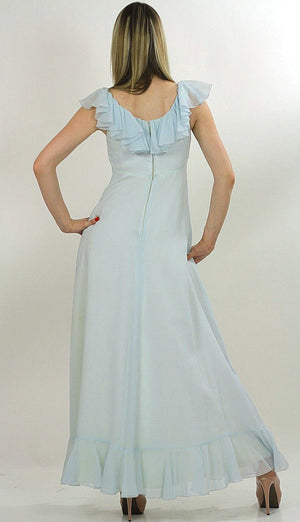 Pastel blue boho maxi dress ruffle collar sheer empire waist S - shabbybabe  - 3
