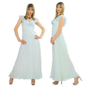 Pastel blue boho maxi dress ruffle collar sheer empire waist S - shabbybabe  - 2