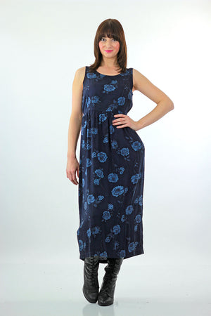 90s Grunge blue floral tie back maxi dress - shabbybabe  - 3