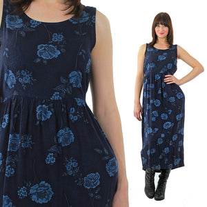 90s Grunge blue floral tie back maxi dress - shabbybabe  - 2