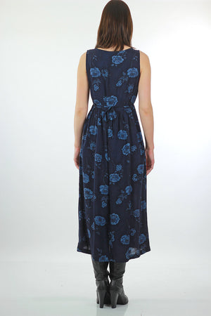 90s Grunge blue floral tie back maxi dress - shabbybabe  - 4