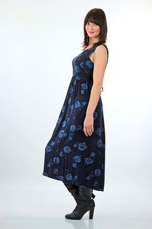 90s Grunge blue floral tie back maxi dress - shabbybabe  - 1