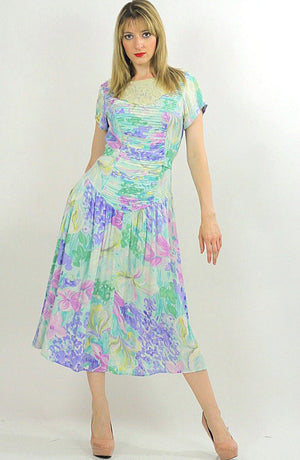 80s Boho pastel floral garden party  midi dress - shabbybabe  - 3