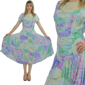 80s Boho pastel floral garden party  midi dress - shabbybabe  - 2
