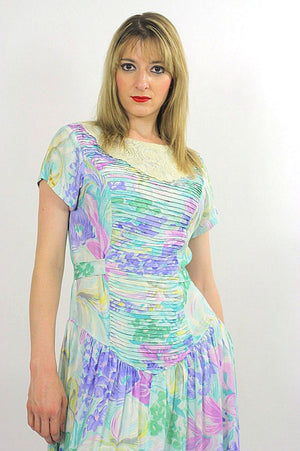 80s Boho pastel floral garden party  midi dress - shabbybabe  - 5