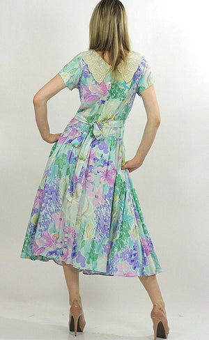 80s Boho pastel floral garden party  midi dress - shabbybabe  - 4