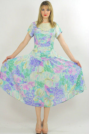 80s Boho pastel floral garden party  midi dress - shabbybabe  - 1
