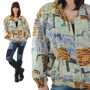 80s Abstract Animal Cat Dog Silk horse oversized jacket - shabbybabe  - 2