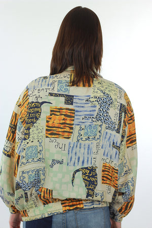 80s Abstract Animal Cat Dog Silk horse oversized jacket - shabbybabe  - 5