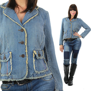Boho Acid wash Denim jacket rocker hippie  8P Medium - shabbybabe  - 2