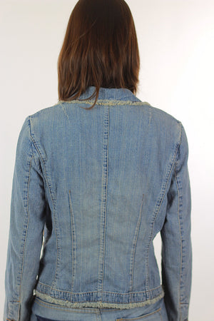 Boho Acid wash Denim jacket rocker hippie  8P Medium - shabbybabe  - 5