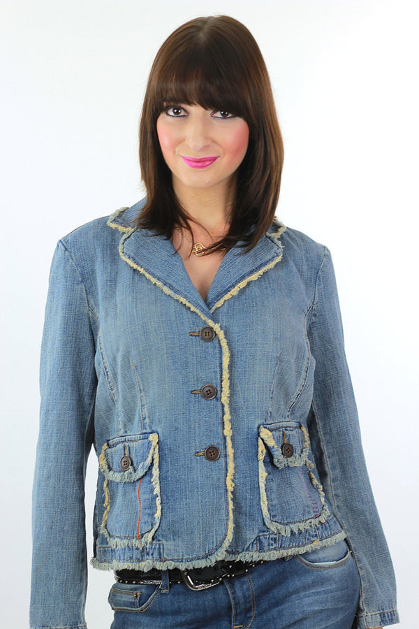 Boho Acid wash Denim jacket rocker hippie  8P Medium - shabbybabe  - 1