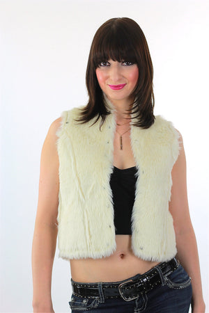 Boho hippie white fur vest Studded White Top Bohemian Gypsy M - shabbybabe  - 1