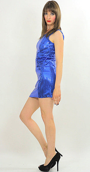 Blue Sequin mini dress Cocktail party deco Gatsby sleeveless S - shabbybabe  - 1