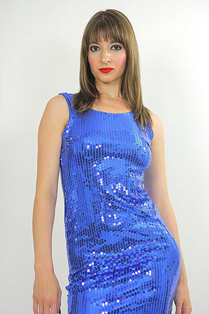 Blue Sequin mini dress Cocktail party deco Gatsby sleeveless S - shabbybabe  - 4