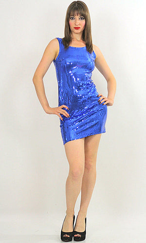 Blue Sequin mini dress Cocktail party deco Gatsby sleeveless S - shabbybabe  - 3