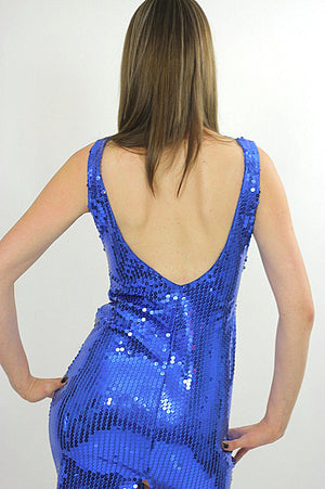 Blue Sequin mini dress Cocktail party deco Gatsby sleeveless S - shabbybabe  - 5