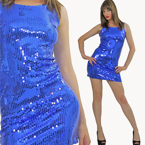 Blue Sequin mini dress Cocktail party deco Gatsby sleeveless S - shabbybabe  - 2