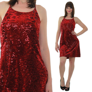 Sequin Mini Dress Vintage 90s Grunge Velvet Dress Red Sequin Dress Party Cocktail Dress Disco Dress Deco Dress Glam Dress Holiday Dress - shabbybabe  - 2