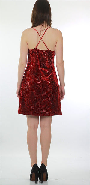 Sequin Mini Dress Vintage 90s Grunge Velvet Dress Red Sequin Dress Party Cocktail Dress Disco Dress Deco Dress Glam Dress Holiday Dress - shabbybabe  - 3