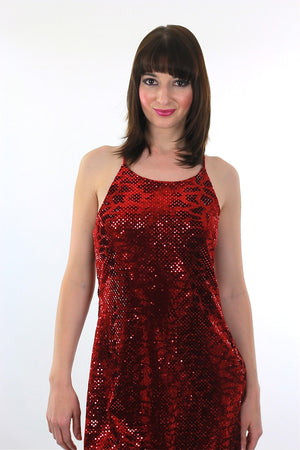 Sequin Mini Dress Vintage 90s Grunge Velvet Dress Red Sequin Dress Party Cocktail Dress Disco Dress Deco Dress Glam Dress Holiday Dress - shabbybabe  - 1