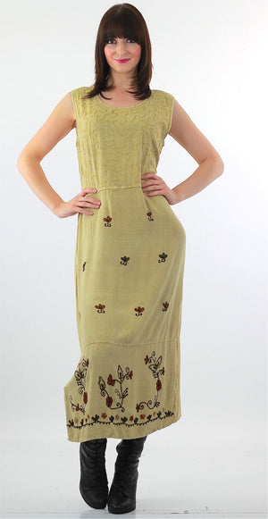 Boho hippie embroidered Dress long maxi floral shift sleeveless sundress L - shabbybabe  - 2