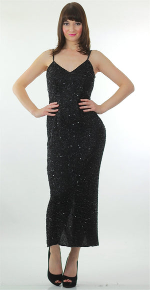 80s Black sequin beaded dress open back cocktail party Medium - shabbybabe  - 1