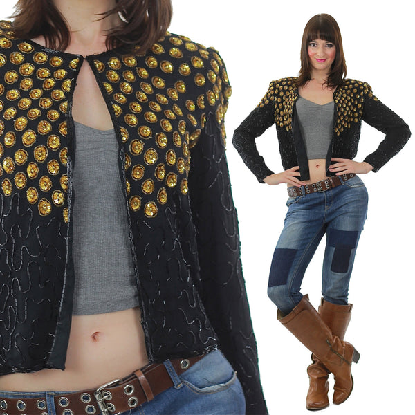 Sequin Jacket Vintage 1980s  gold Metallic Evening cocktail party long sleeve Deco Silk top Small - shabbybabe  - 1