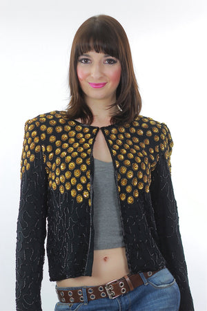 Sequin Jacket Vintage 1980s  gold Metallic Evening cocktail party long sleeve Deco Silk top Small - shabbybabe  - 2