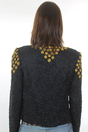Sequin Jacket Vintage 1980s  gold Metallic Evening cocktail party long sleeve Deco Silk top Small - shabbybabe  - 4