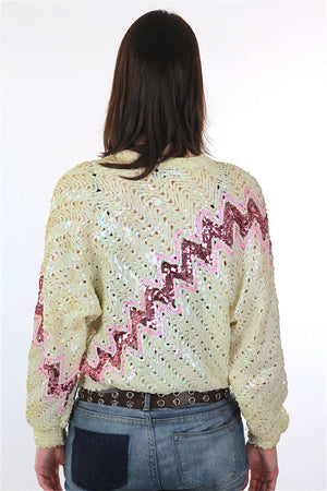 Sequin Sweater 80s Abstract metallic Pink white zig zag Glitter Deco Glam Pullover retro long sleeve top Medium - shabbybabe  - 4