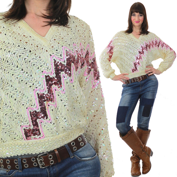Sequin Sweater 80s Abstract metallic Pink white zig zag Glitter Deco Glam Pullover retro long sleeve top Medium - shabbybabe  - 1