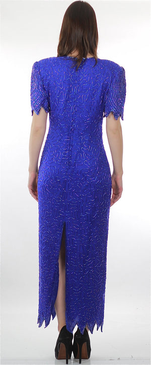 Vintage 80s Deco Gatsby blue sequin beaded dress - shabbybabe  - 3