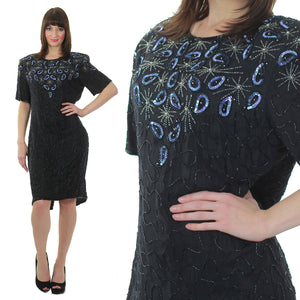 80s Art Deco Gatsby flapper Sequin beaded dress - shabbybabe  - 1
