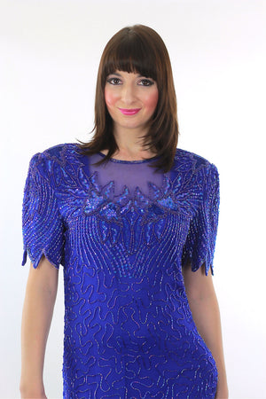 Vintage 80s Deco Gatsby blue sequin beaded dress - shabbybabe  - 4