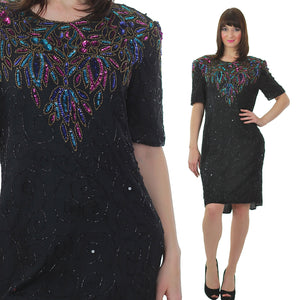 Vintage 80s Gatsby Deco Flapper black sequin beaded party dress - shabbybabe  - 2
