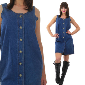 Grunge button up denim shift mini dress - shabbybabe  - 2