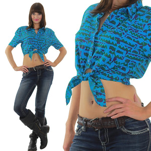 80s boho abstract graphic belly shirt  crop top - shabbybabe  - 2
